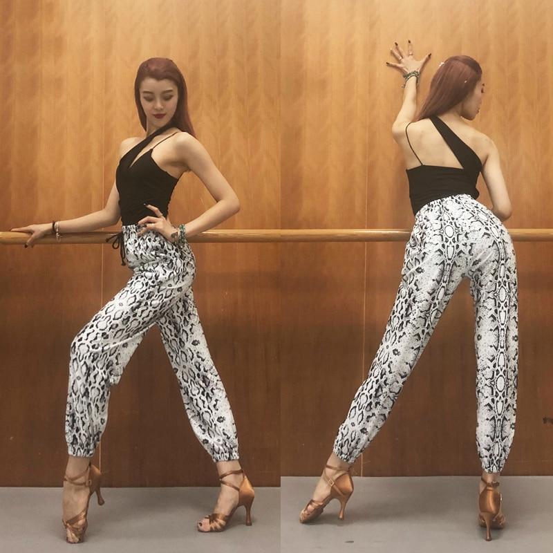 Nuevos pantalones de baile latino para mujer, pantalones de diseño de serpiente para practicar Rumba/Tango/Samba/Salsa/Cha Performance DQL1282