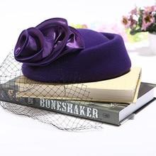 Feutre de laine Hiver Femmes Chapeau Marque Qualité Classique Solide fleur Béret Caps Élégante Église Chapeau De Mariage Fedora plat Formelle chapeau