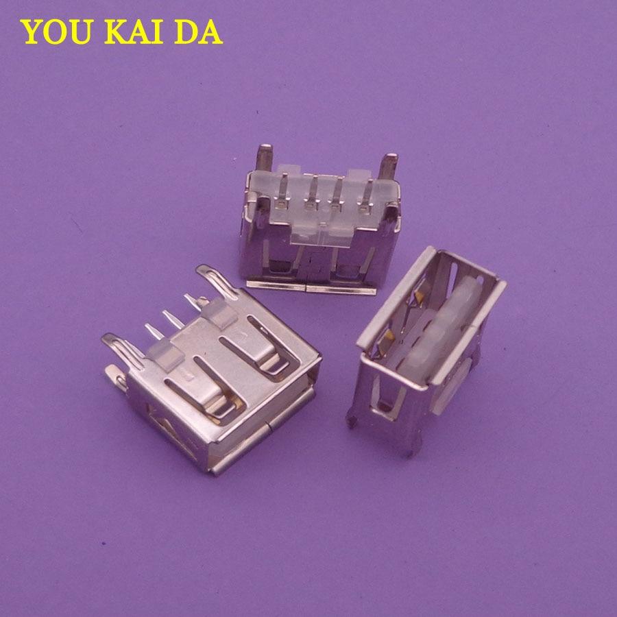 1000 قطعة/الوحدة نوع شقة زاوية (180 درجة) الإناث USB PCB موصل المقبس ، USB جاك التوصيل usb 2.0 جاك