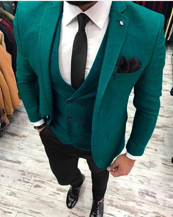 Classic slim Groomsmen  Notch Lapel Groom Tuxedos Men Suits Wedding/Prom Best Man Blazer ( Jacket+Pants+Tie+Vest) A202
