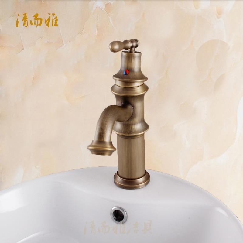 صنبور مياه عتيق ساخن وبارد عالي الجودة ، نحاسي ، حوض غسيل أوروبي 8883