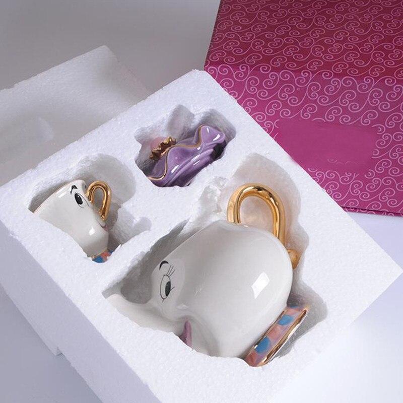 חדש קריקטורה יופי והחיה קומקום ספל Cogsworth שעון גברת פוטס שבב תה סיר כוס אחת סט יפה מתנה מהיר הודעה