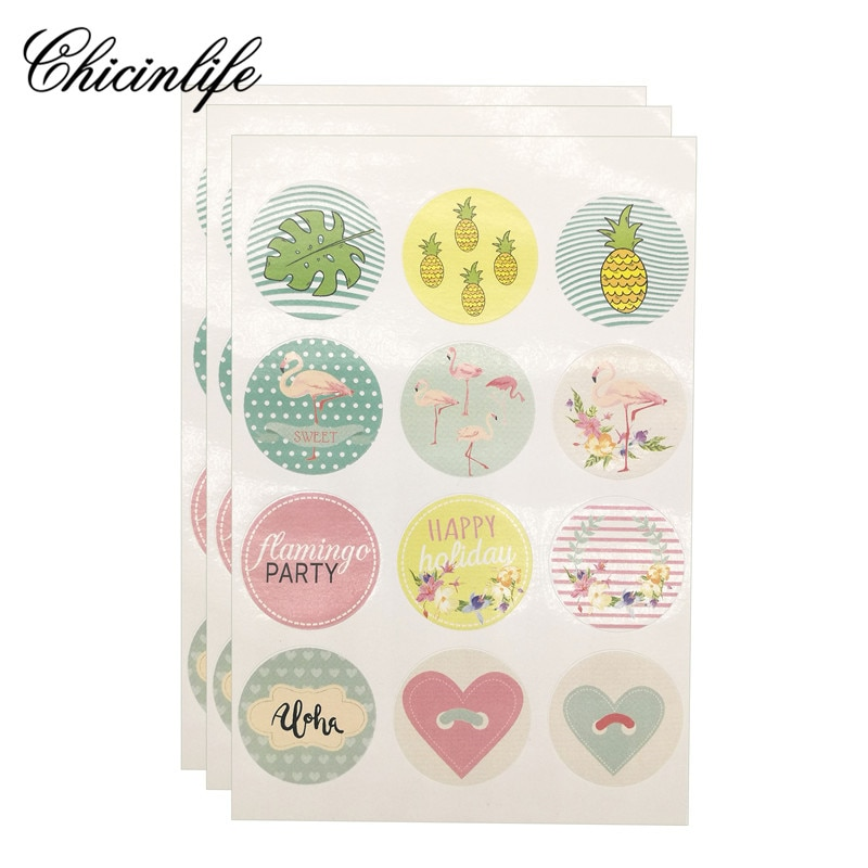 Chicinlife 60Pcs Happy Holiday Flamingo Summer Party Cookies DIY Paper Gift Stickers Label Candy Box