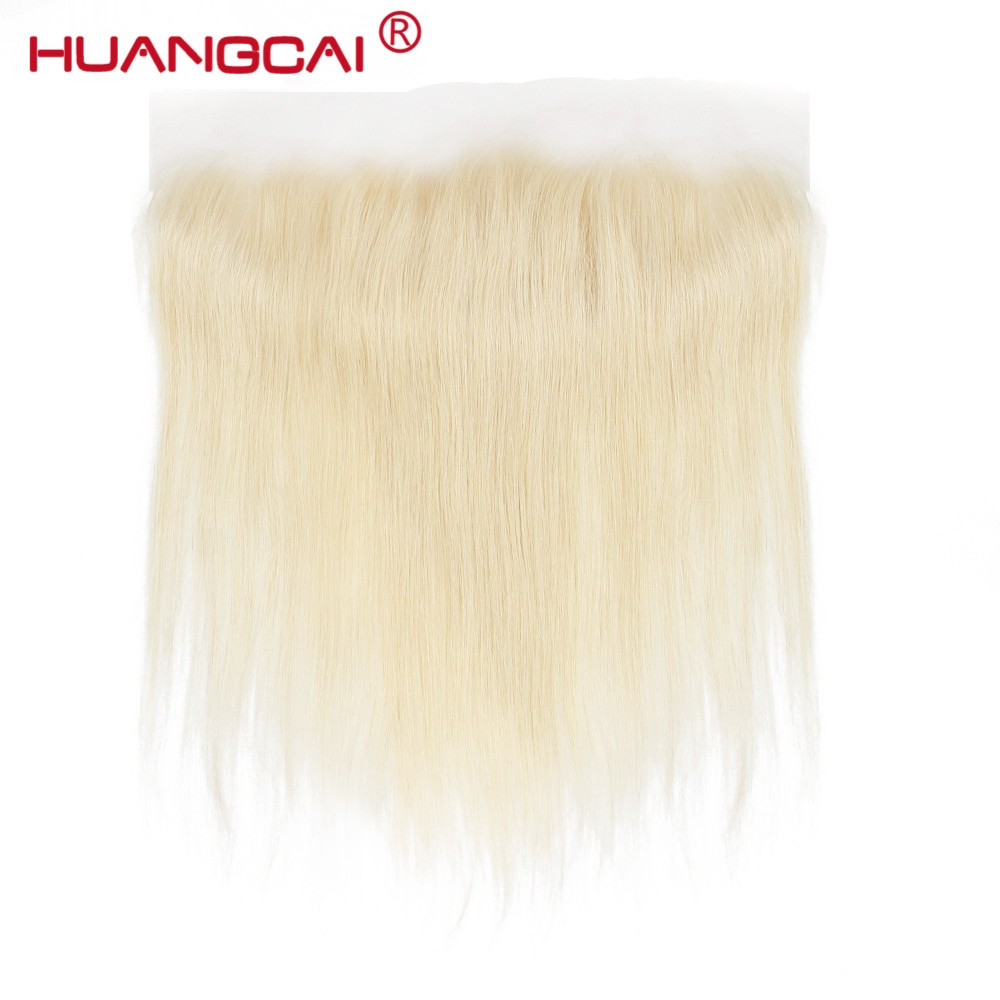 Huangcai 613 Brazilian Straight Hair Lace Frontal Closure Blond Human Hair Weave with Closure