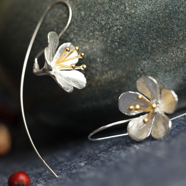 Moda 925 prata esterlina longo flor brincos borla jóias pendientes mujer moda orecchini