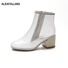 Aleafalling botines de lluvia transparentes al aire libre 7,5 cm tacón alto cremallera PU motocicleta colorido tobillo botas maduras Mujer Zapatos W215