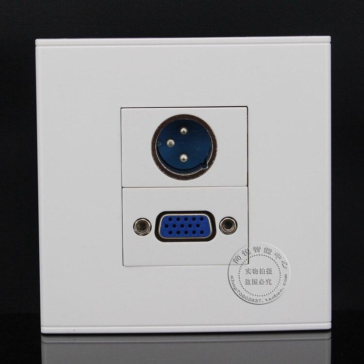 Face recados Placa de Microfone XLR & Uma Porta VGA Multimedia tomada Painel Faceplate