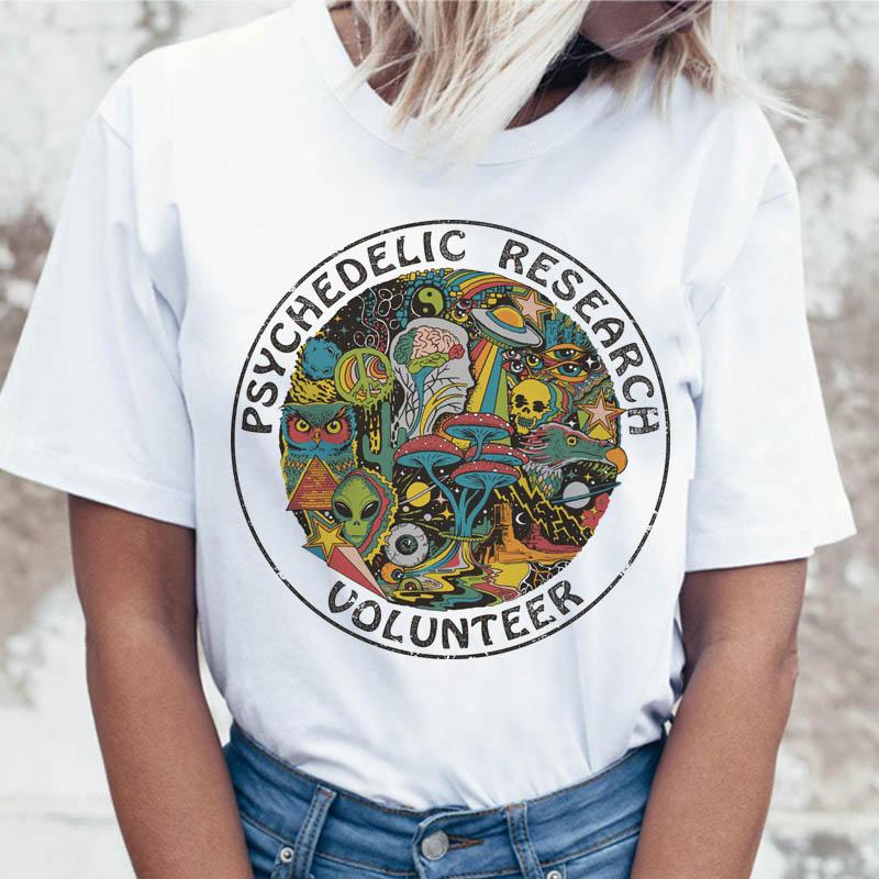 Psicodélico Pesquisar Voluntário t shirt t-shirt camiseta top feminino gráfico t-shirt engraçado para as mulheres harajuku ulzzang coreano roupas