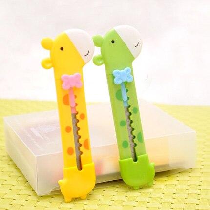 5 unids/lote, cuchillo de jirafa para niños, cuchillo de papel bonito para estudiantes, minicortador de papel creativo