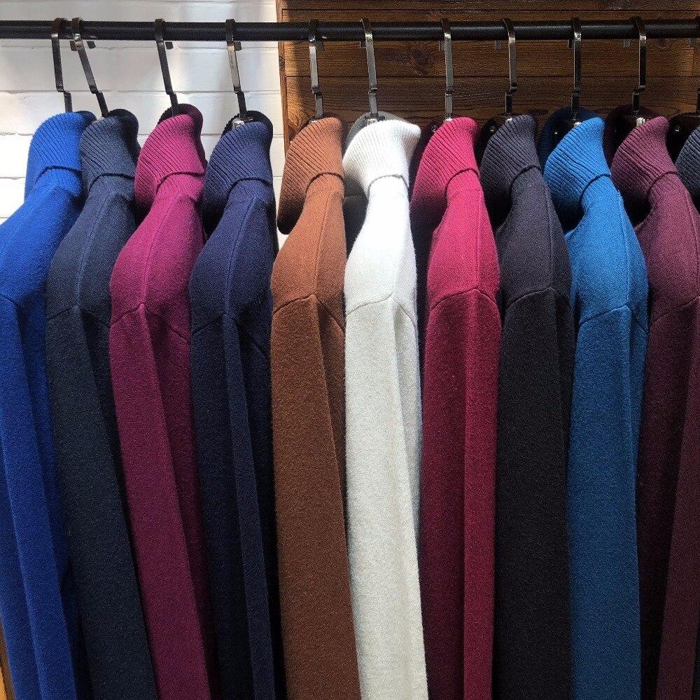 Suéter de cuello alto para hombre de invierno en 8 colores, nueva moda 2020, Jersey informal grueso y cálido de alta calidad, suéter acanalado, ropa de marca