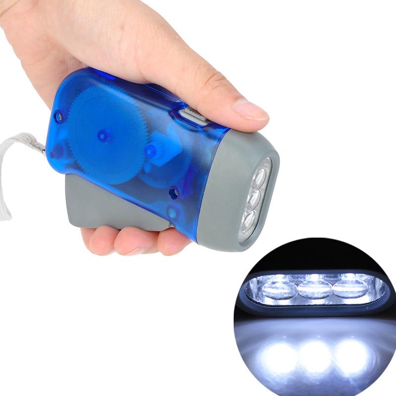 Korba ręczna latarka podróżna bezbateryjne lampy kempingowe 3 diody led ręczne naciśnięcie latarki ręczna latarka generatora