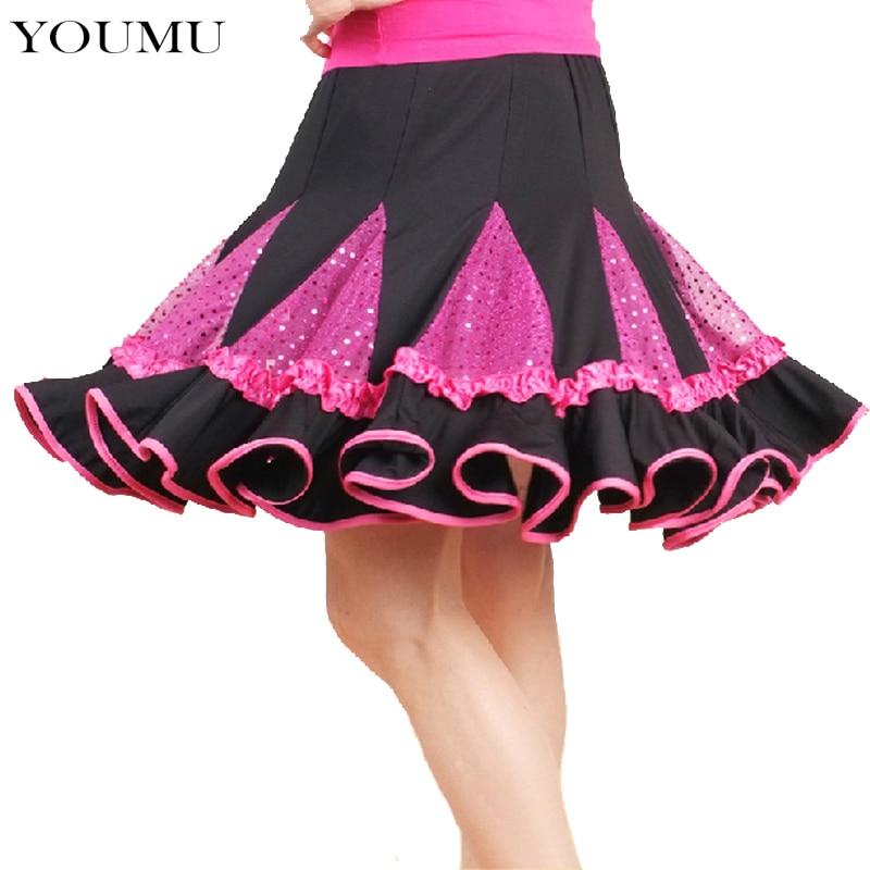 Women Summer Casual Ball Gown Skirts Patchwork Pattern Ruffles Dancing Mini Skirt Latin Waltz Social Dance Fashion 903-A652