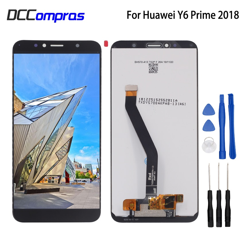 Original para Huawei Y6 Prime 2018, ATU-L11 L21, L22, LX3, Digitalizador de pantalla táctil de pantalla LCD con marco para Huawei Y6 Prime 2018, LCD