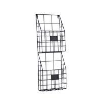 Metal Two Tier Wall Storage Baskets Magazine Rack File Organizer Chalkboard Labels