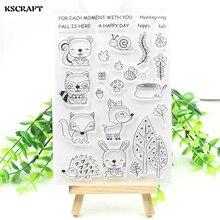KSCRAFT Fall Friends прозрачные силиконовые штампы для скрапбукинга DIY/изготовление карт/Детские забавные украшения, цветок 210