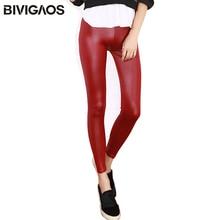 BIVIGAOS femmes cuir look leggings sexy brillant humide look legging gothique legins punk rock spandex cheville pantalon mallas