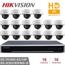 Hikvision-vidéosurveillance/16P   Prise et jeu encastrée, NVR 4K + 16 pièces, Hikvision, caméra IP 8 mp H.265,