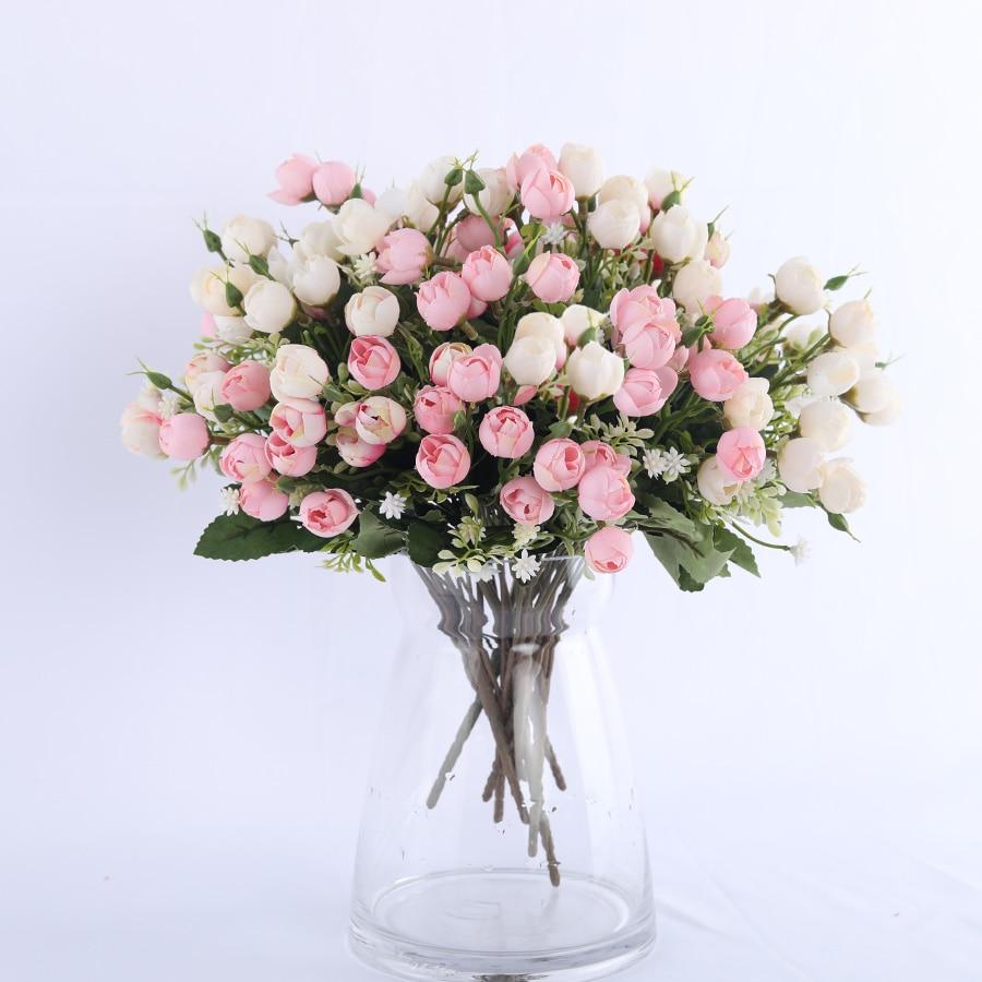 white mini silk rose artificial flowers for wedding decoration bride fake flower bouquet diy home decor art accessories for vase