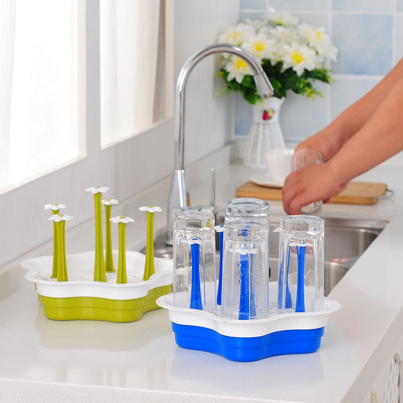 2018 New Fashion Cup Drain Rack Hanging Wine Glass Holder Coffee Mug Storage Rack Drainer Shelf Organizer Kitchen Accessories
