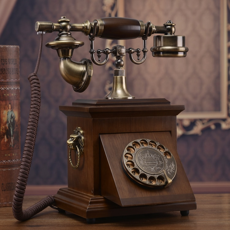 Marca Clásica teléfono vintage de madera maciza rotatorio de estilo antiguo con dial fijo