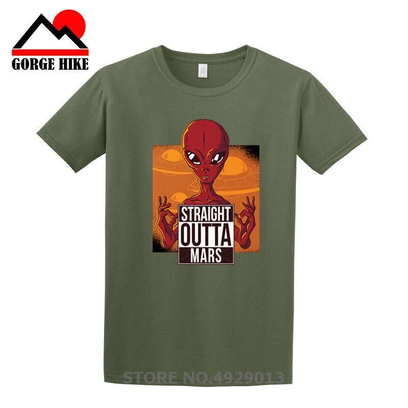 Extraño cosas impreso recto fuera de Marte T camisas espacio OVNI extraterrestre camisetas de logotipo diseño de hombres platillos voladores en la plaza. camiseta