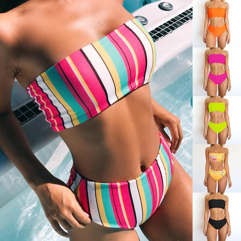 2019 bikini de banda de giro Sexy para mujer, conjunto de top de tubo sin tirantes, vintage, cintura alta, ropa de baño colorida, traje de baño sin hombros