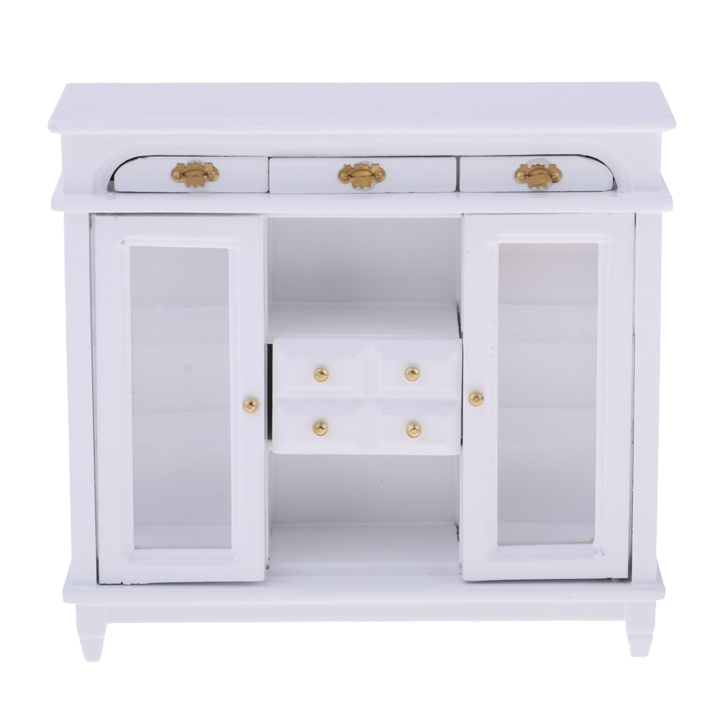 1/12 casa de muñecas en miniatura muebles de madera 4 paneles cajón aparador gabinete