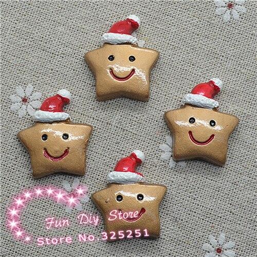 Natal estrela de volta plana com chapéu resina artesanato cabochão 24*27mm 50 pçs/lote