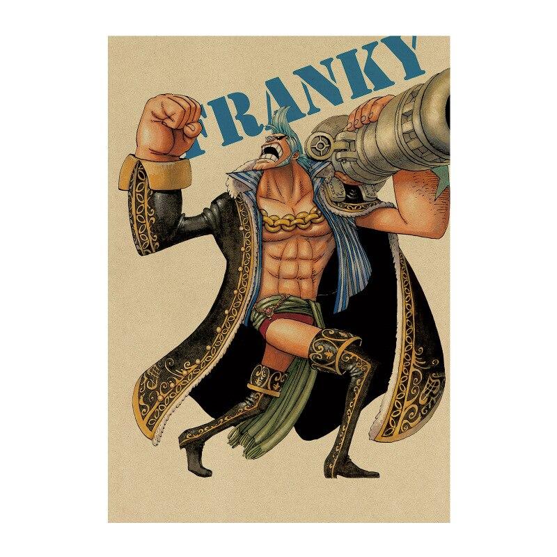 Una pieza 31/Luffy Zoro Chopper/cómic clásico japonés de dibujos animados/papel kraft/póster para bar/póster Retro/pintura decorativa 51x35,5cm