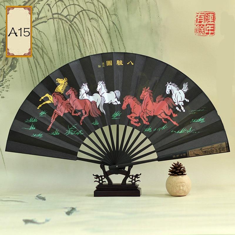 Abanico de mano plegable de seda Estilo Vintage chino Para hombre, Abanicos...