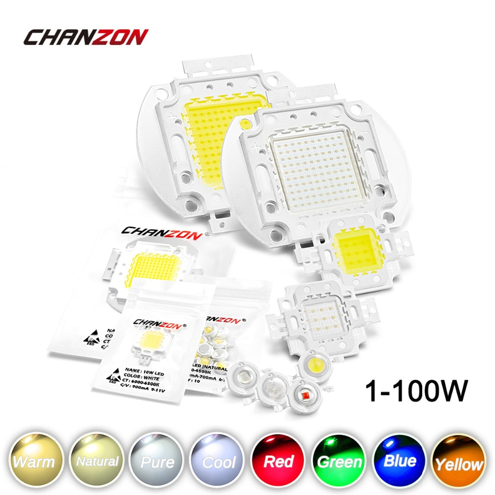 Puce LED haute puissance 1W 3W 5W 10W 20W 30W 50W 100 W chaud blanc froid rouge vert bleu jaune SMD perle lumineuse 1 3 5 10 20 50 100 W Watt