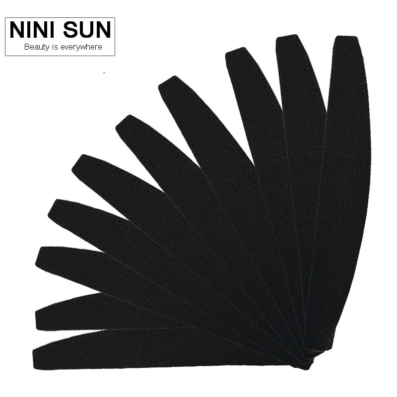 Lima de uñas de media luna de cebra negra 100/180 profesional de manicura de buena calidad de papel de arena de Eva Japan 10 Uds gratis para salón