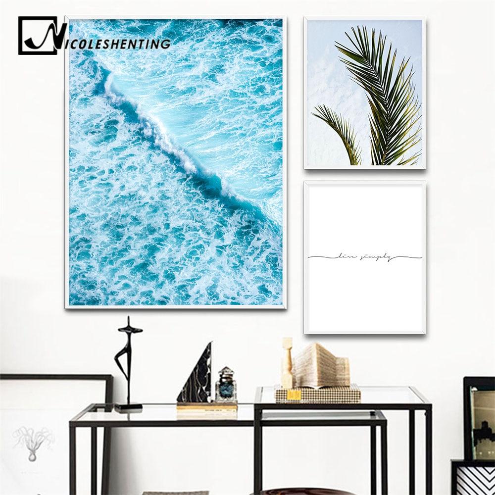 Cuadro sobre lienzo para pared con olas marinas escandinavas, carteles nórdicos con paisaje marino y cuadro decorativo con impresiones para decoración del hogar