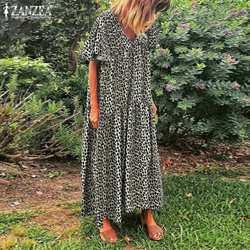 Vestido zanzea, vestido de verão da moda com estampa de oncinha, manga curta, casual, decote em v, festa, túnica longa, 2020