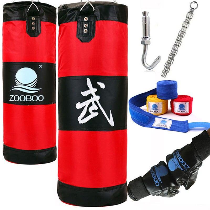 Bolsa de boxeo MMA bóxer de entrenamiento de 100CM con gancho para colgar bolsa de deporte saco de arena saco de boxeo con guantes de boxeo envolturas de mano
