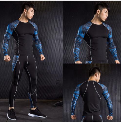 Pantalones de compresión para hombre + Camiseta crossfit, camisas deportivas para hombre, mallas, kit rashgard, mallas, chándal para hombre, S-4XL, envío exprés