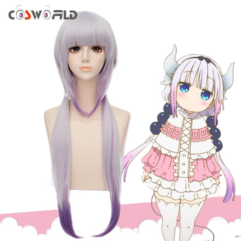 Coshome Kobayashi-san Chi No Maid Dragon Kamui Kanna Wigs Gradient Cosplay Peluca Hair Ornaments Horns Headdress Accessories