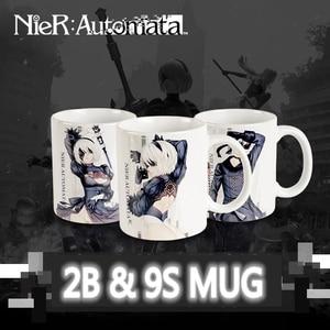 Anime JK Game NieR:Automata YoRHa No.2 Type B 2B No. 9 Type S 9S Cosplay Mark Cup Ceramic Daily Drink Mug Tea Milk Coffee