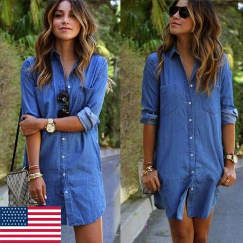 T-Shirt manches longues col rabattu femme, décontracté, court, avec boutons en Denim et en jean, pour lautomne