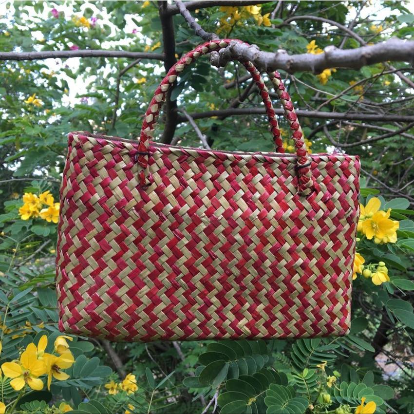 Thai version of pure hand-woven handbag retro fashion seaweed knit bag Mi Seoul women's vacation beach bag