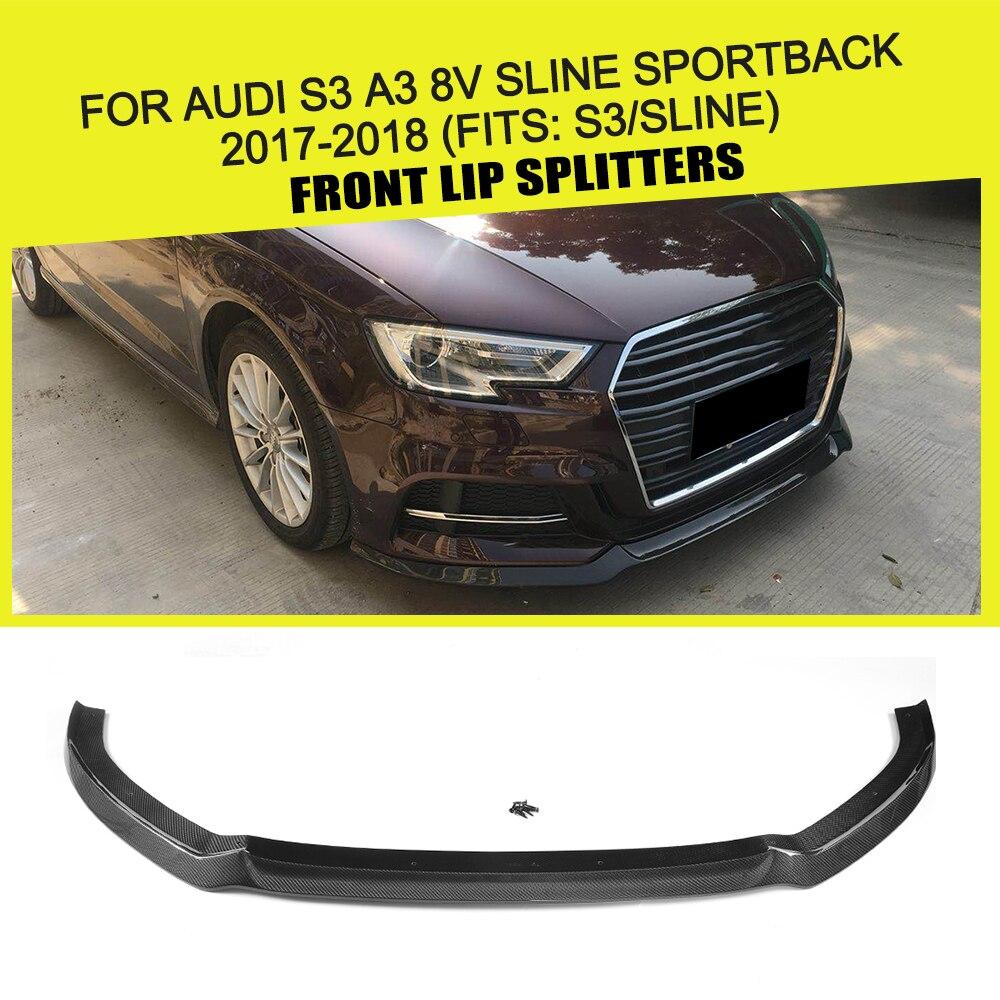 Fibra de carbono/FRP, parachoques delantero de coche, divisores de labios, delantal de alerón S3 para Audi A3 8V SLINE Sportback 2017 2018