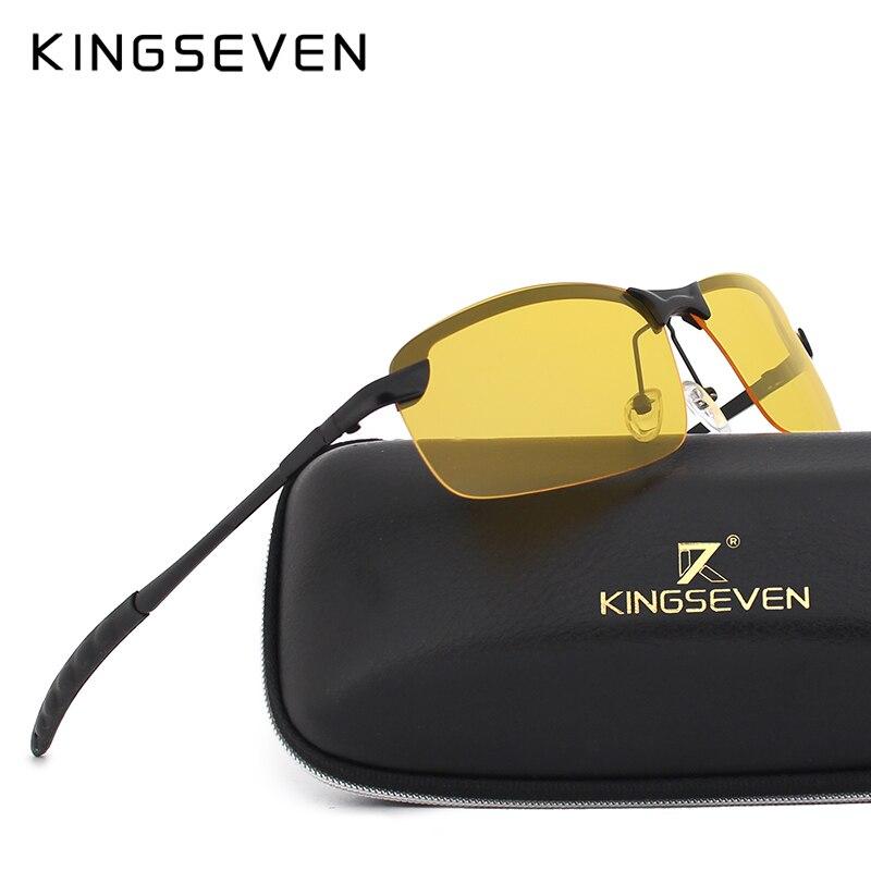 Kingseven óculos de visão noturna condução óculos de sol polarizados para carro masculino óculos de condução anti-reflexo liga quadro óculos noite