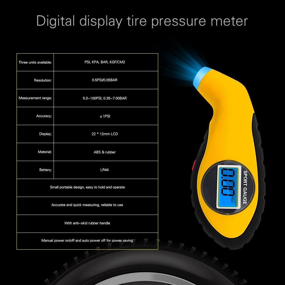 1Pcs Car Tire Pressure Gauge Meter Electronic Digital LCD Tire Manometer Barometer Tester Tool Motorcycle Security Alarm monitor