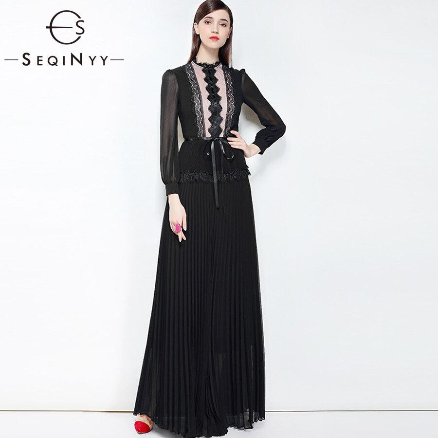 SEQINYY Lace Dress 2018 Autumn Winter New Woman Fashion pleated Slim Long Sleeve Regular Collar Net Yarn Chiffon pure Long Dress