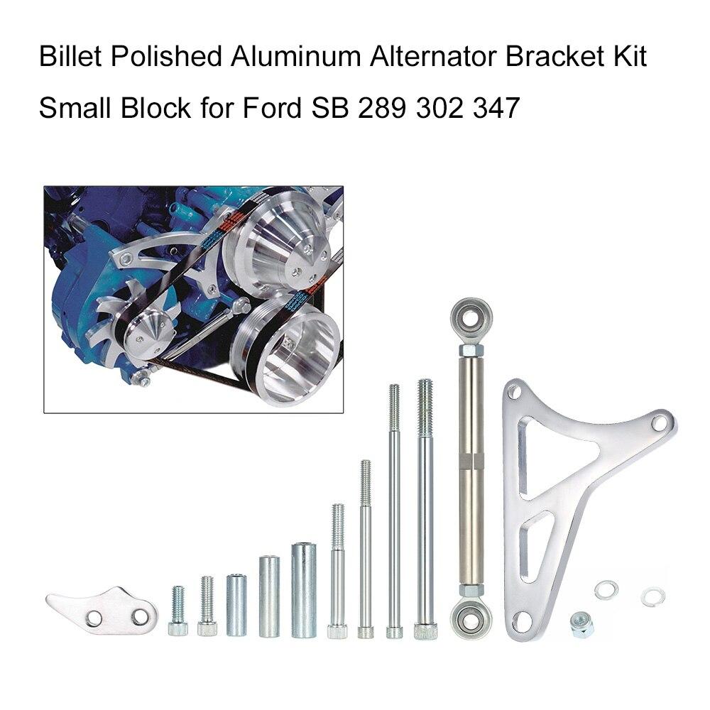 Kit de soporte de alternador de aluminio pulido Billet bloque pequeño Windsor para Ford 351W