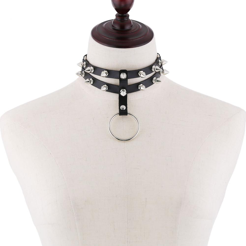 Colar de gargantilha para mulheres colar cravejado gótico gargantilha homens legal punk rock couro chocker emo harajuku steampunk jóias