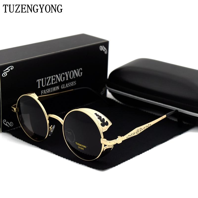 Tuzengyong alta qualidade moda polarizada óculos de sol masculino/feminino redondo metal escultura vintage óculos de sol gótico steampunk sunglass