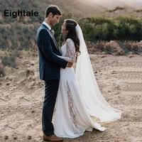 eightale boho long sleeve wedding dresses 2019 o neck wedding gowns beach princess custom made cheap bride dress free shipping