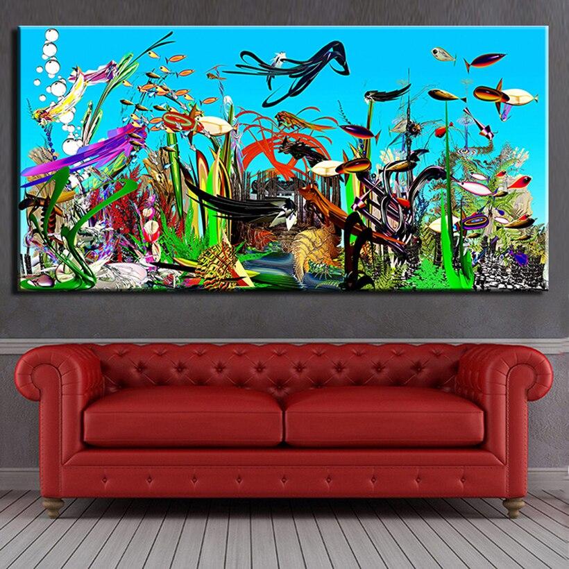 Pintura moderna abstracta de arte sobre lienzo con incrustaciones de oceanografía para sala de estar dormitorio decoración pinturas sin marco
