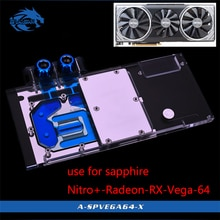 Bloque de agua Bykski para zafiro Nitro + Radeon RX Vega 64 8GB HBM2 (11275-03-40G) cubierta completa GPU bloque de cobre radiador RGB